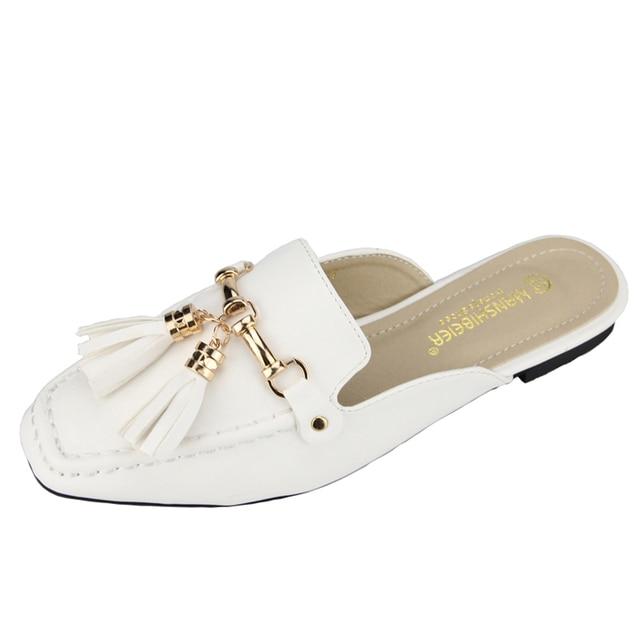 Новый Бренд Летом Женская Половина Тапочки Кисточкой Блестками Низком Каблуке Повседневная Обувь Леди Кожаные Сандалии Слайды Черный Белый Размер 35-39