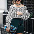 Striped Off Shoulder Top Long Sleeve Women Blouses Tops Summer 2017 Chic Choker Chemise Femme Slash Neck Shirt Blusas Mujer C177