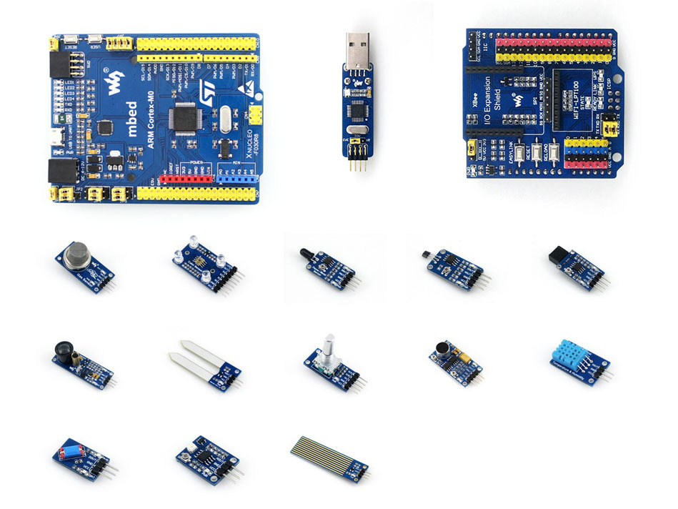 Parts XNUCLEO-F030R8 STM32 STM32F030R8T6 ARM Cortex M0 Development Board Compatible with NUCLEO-F030R8 + IO Expansion Shield + S parts stm32 board xnucleo f411re compatible with nucleo f411re st link v2 io expansion shield sensor modules