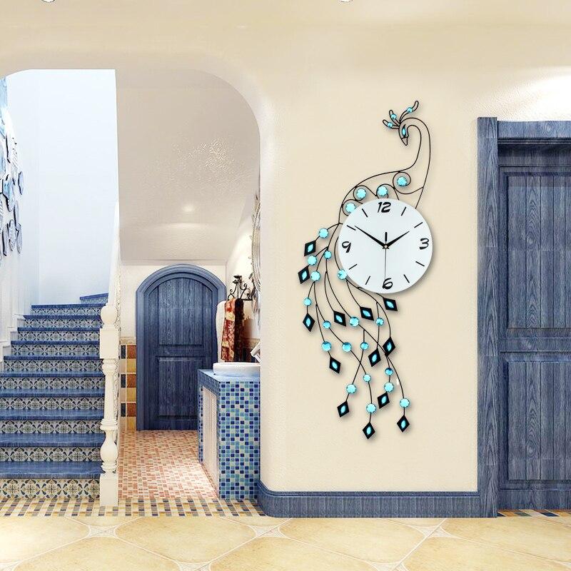 Fashion Luxury Peacock Wall Clock Modern Design Europe Living Room/Bedroom Mute Wall Watch Big Home Decor Clock Wall Iron Clocks