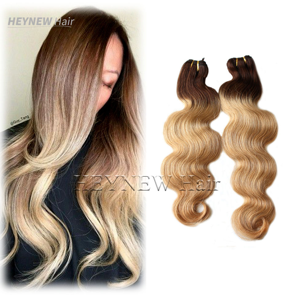 #4#27 blonde ombre bra-zilian vir-gin hair extensions body wave hu-man hair bundles 2pcs Lot ombre two tone hair weave