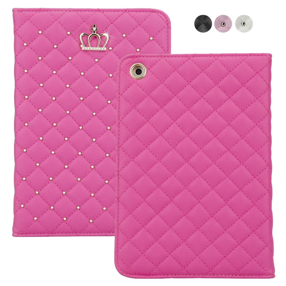 Fashion Crown Bling Diamond Protective Case for iPad Mini 3 2 Stand Leather Folio Smart Cover for Apple iPad Mini2 Mini3 Y12
