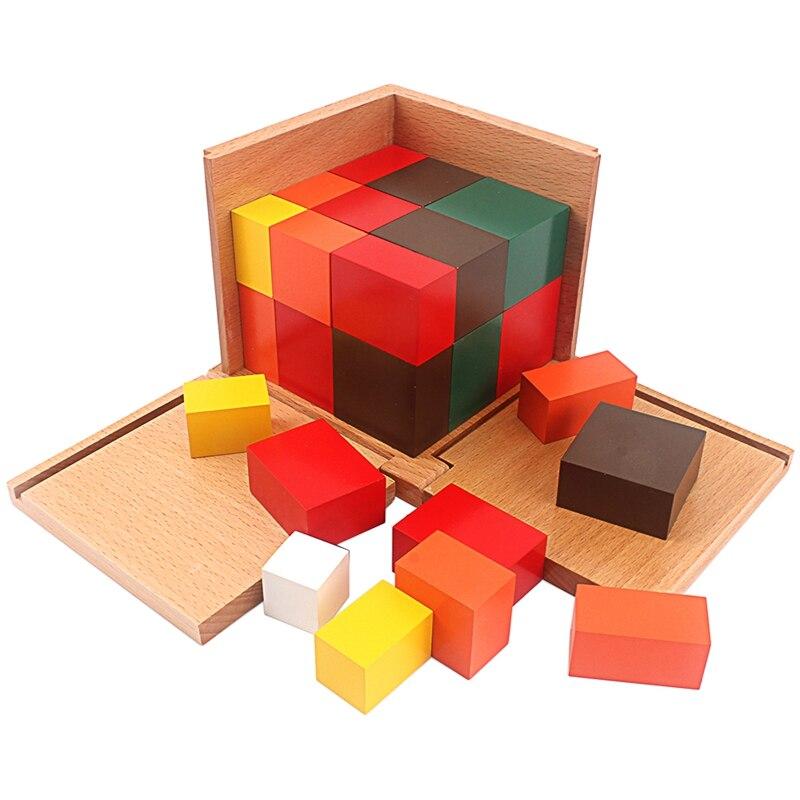 Montessori matériaux bois jouets colorés Cubes trinomiaux boîte trois Cubes en bois dix-huit prismes à base carrée aide à l'enseignement des étudiants - 3