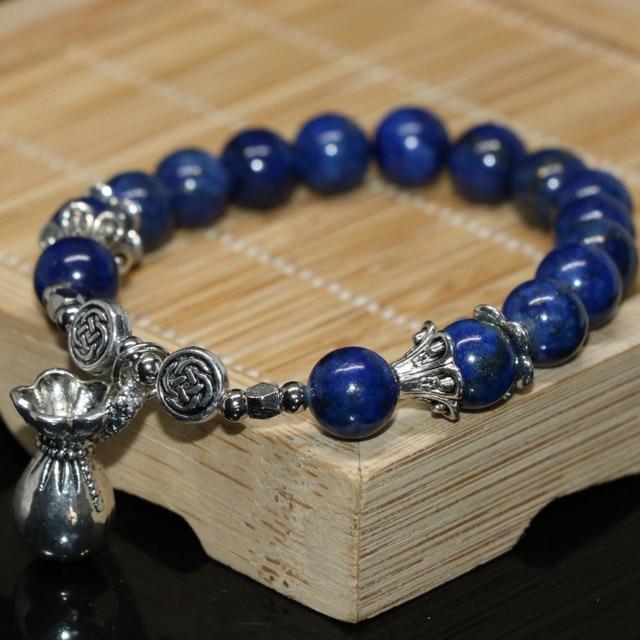 03649d8bb430 Tíbet accesorios 8mm encantos natural azul lapislázuli redondo perlas DIY  mujeres pulsera joyería que hace 7.5
