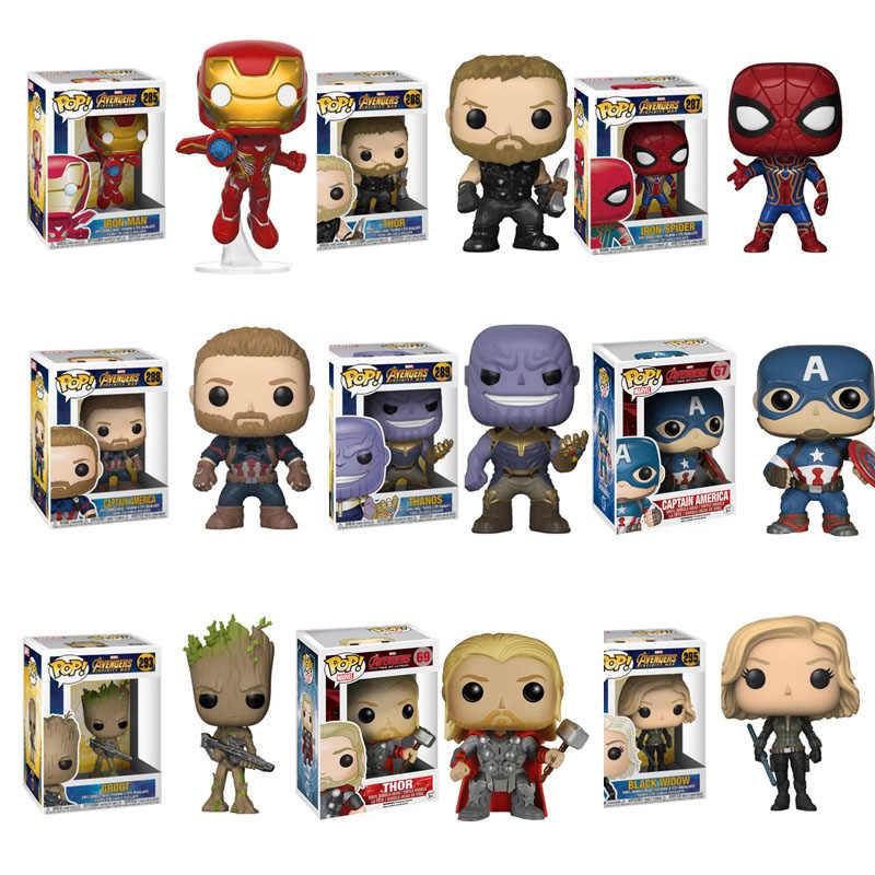 Funko pop Marvel Мстители эндигра танос Железный человек Тор Стэн ли фигурка Коллекция Модель игрушки для детей Рождественский подарок