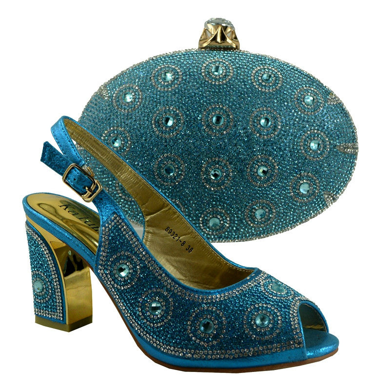 ФОТО 2017 Latest Noble Design African Shoes And Bags Italian Matching Shoe And Bag Set Nigerian High Heels For Party!YZ34