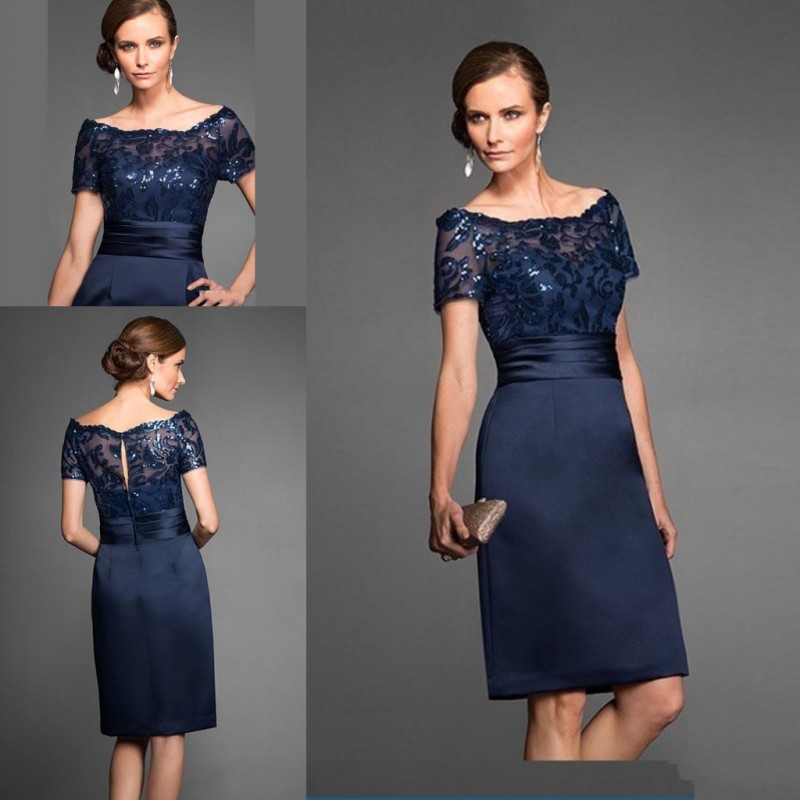 Elegant Short Navy Blue <font><b>Mother</b></font> Of The Bride Dresses Sequin Lace Knee Length Wedding Party Gown Short Sleeve image