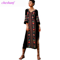 Summer Dress 2018 New Spring Fashion Women Vintage Ethnic Style Embroidery Split Long Maxi Dress V