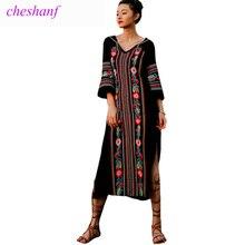 Summer Dress 2018 New Spring Fashion Women Vintage Ethnic Style Embroidery Split Long Maxi Dress V-Neck Beach Dress Vestidos