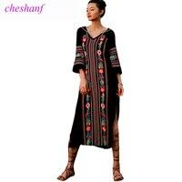 Summer Dress 2018 New Spring Fashion Women Vintage Ethnic Style Embroidery Split Long Maxi Dress V Neck Beach Dress Vestidos