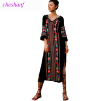 Summer Dress 2018 New Spring Fashion Women Vintage Ethnic Style Embroidery Split Long Maxi Dress V Neck Beach Dress Vestidos