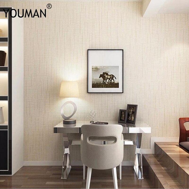 Papier peint moderne de toile de lin conçoit des papiers peints de couleur solide texturés par 3D de Fiber de PVC de brun Beige pour des murs de salon