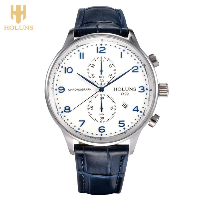 Prix pour HOLUNS D'origine Hommes Montre-Bracelet Date Affichage 5Bar Résistant À L'eau De Luxe Japon Mouvement À Quartz D'affaires Calendrier Mâle Horloge