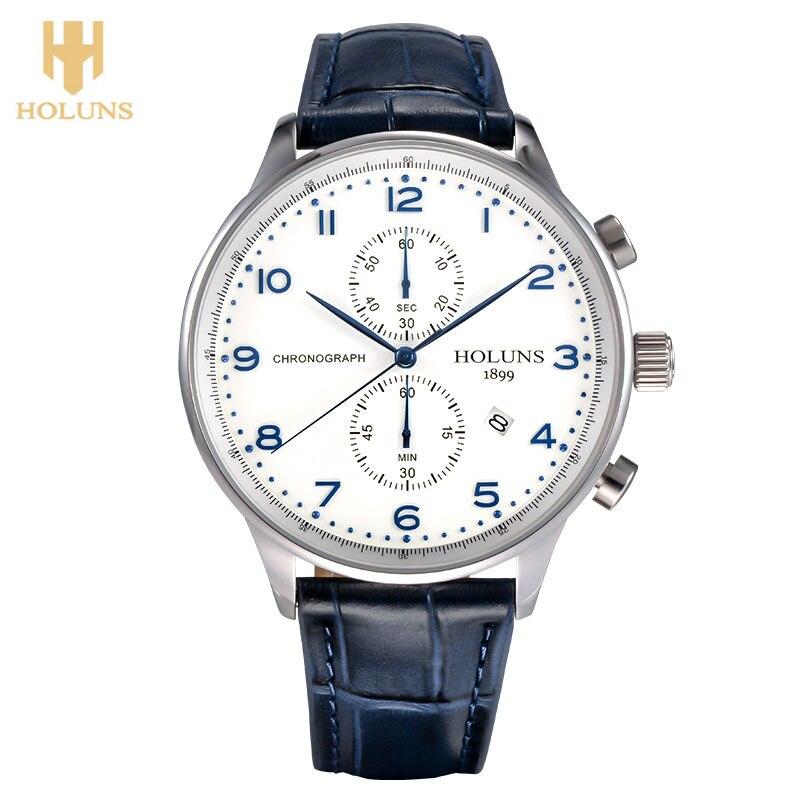 ФОТО HOLUNS Original Men Wrist Watch Date Display 5Bar Water Resistant  Luxury Japan Quartz Movement Business Calender Male Clock