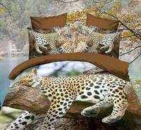 3D Leopard Jaguar Brown Comforter Bedding Set Queen Bed Linen Sheet Linen Duvet Cover Bedspread Bedsheet