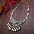 National trend vintage necklace collar accessories peacock miao silver necklace