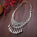 Tendencia nacional de la vendimia accesorios collar de pavo real collar de plata miao