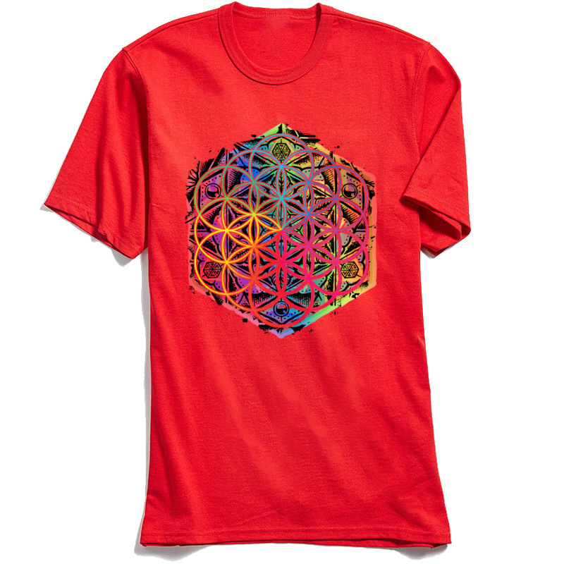 Printed Gift Summer Autumn All Cotton O Neck Men's Tops & Tees Design Tee-Shirts Fashion Short Sleeve T Shirts Sacred Geometry Flower of Life Mandala Color 1 red