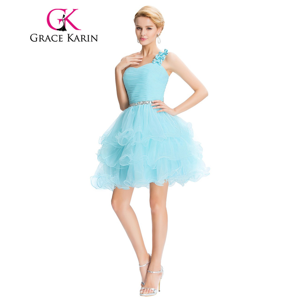 Grace Karin Short Prom Dress Ball Gown One Shoulder Organza Grey ...