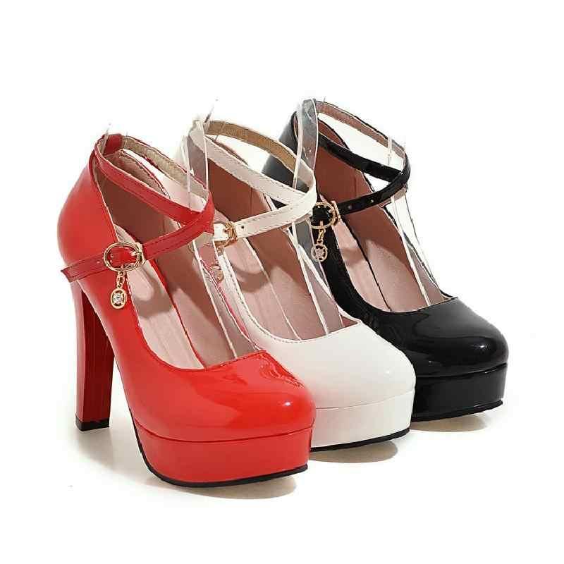 Kadınlar Seksi Yüksek Topuklu Ayakkabı Çapraz Kayış Büyük Boy 42 43 Beyaz Siyah Kırmızı Patent deri ayakkabı Düğün Ayakkabı Platformu Kalın pompaları