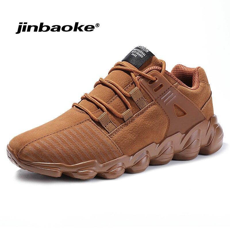JINBAOKE Spring Autumn Outdoor comfort Men Running Shoes Leather light Sport Shoes Man Sport Breathable Jogging Walking Mens