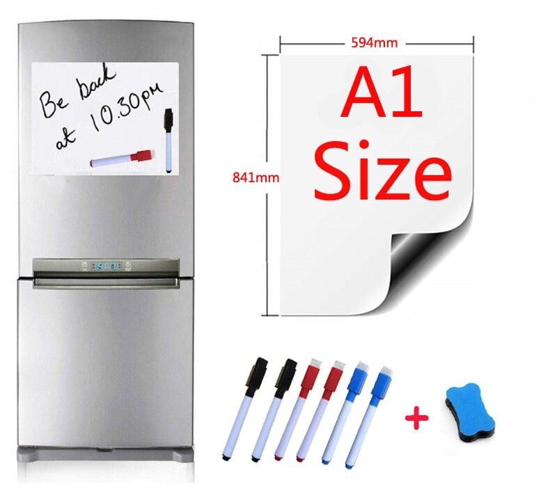 A1 taille 594x841mm magnétique tableau blanc réfrigérateur aimants marqueur maison cuisine Message écriture autocollant planches aimants 1 gomme 6 stylo