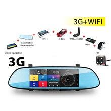"""7 """"3G lente dual Dvr Coche Espejo de La Cámara dvr Android 5.0 GPS RAM 1 GB + ROM 16 GB leva Tablero de navegación 3G + wifi dvr HD 1080 P grabador"""
