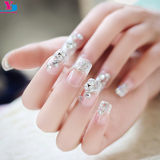 3 Set French Full Fake Nails With Rhinestones Shining Glitter Clear Nail Tips Lace Design