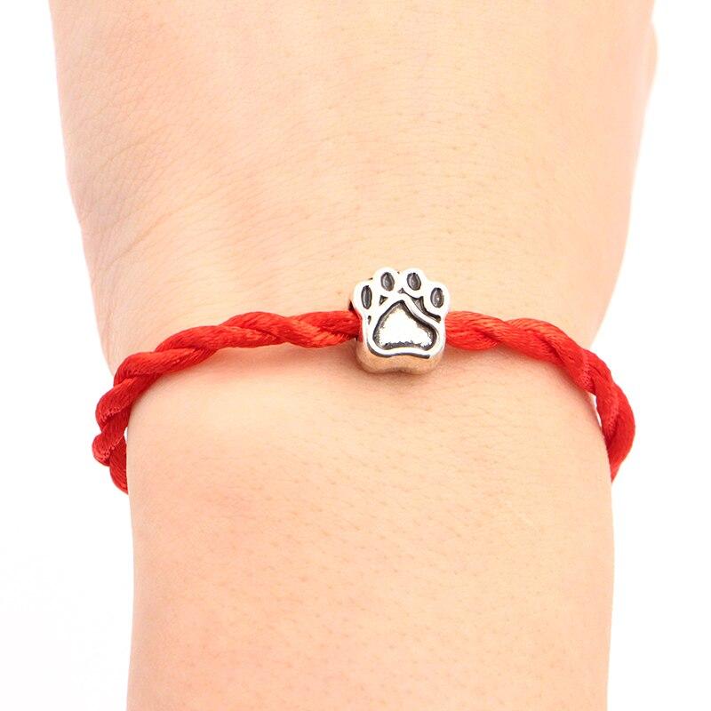 2020 New Dog Love Bones Beads 4mm Red Thread String Bracelet Lucky Red Handmade Rope Charm Bracelet for Women Men Jewelry