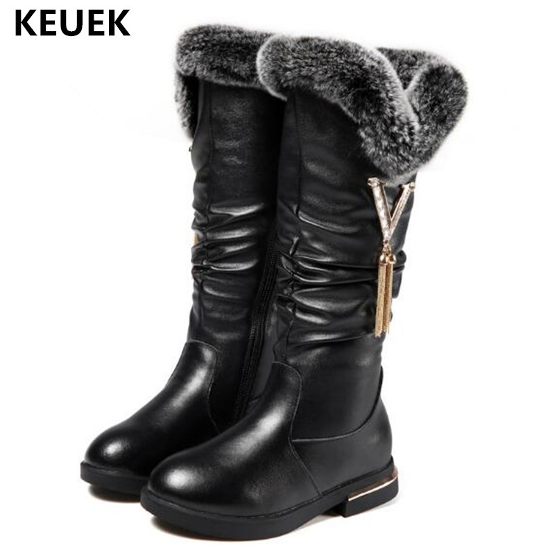 2018 Winter Children Genuine Leather Boots Girls Knee-High Baby Rabbit fur boots Princess Warm Plush Martin boots Kids Shoes 018 цены онлайн