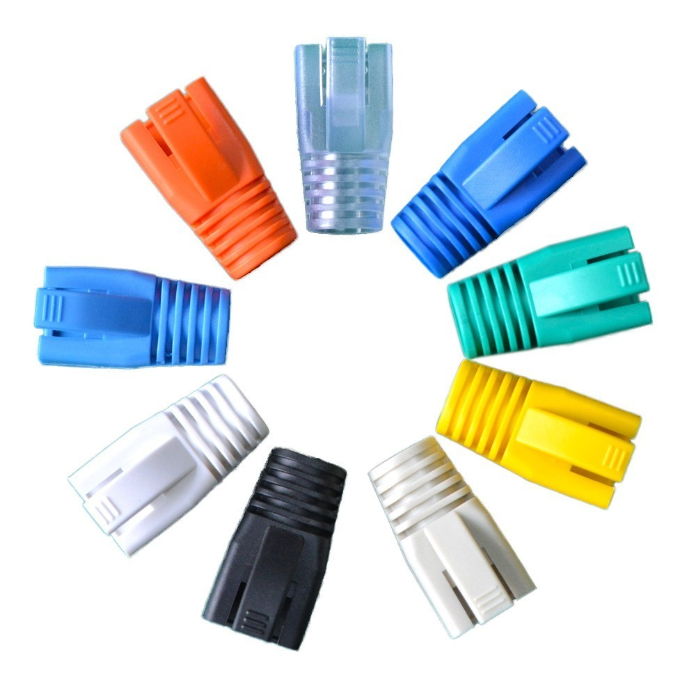 HQ 100pcs 8.5mm Aperture CAT7 Crystal Head Sheath Network Cable Protective Sleeve RJ45 Connector Boot Cap CAT6A Plug Jacket Case