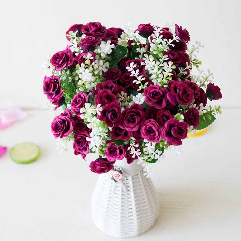Check Out 15 Head Mini Roses Artificial Flower With Green Leaves For Living Room And Desk Home Online