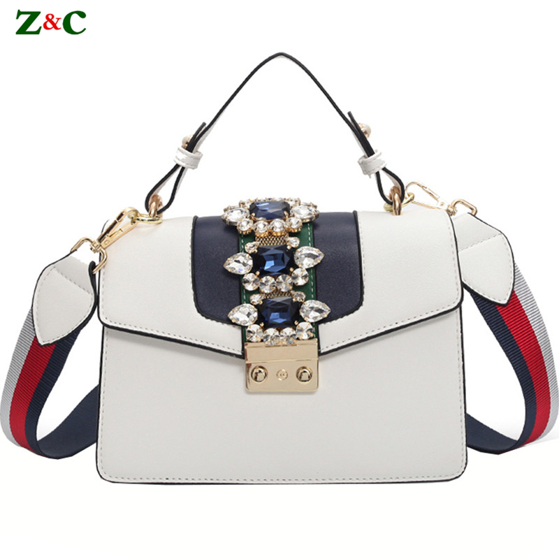 Colorful Strap Shoulder Bag Famous Designer Handbag Lady Tote Purse Luxury Brand Diamond Gem Design Women Leather Handbag Sac