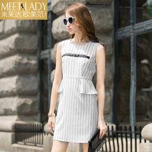 2017 summer dress women's clothing sleeveless o-neck fashion print stripe one-piece dress high waist dress medium female