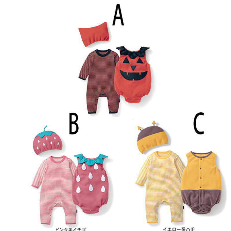 Baby girl cotton outfit strawberry costume full sleeve romper+hat+vest infant halloween festival photography clothingRompers   -