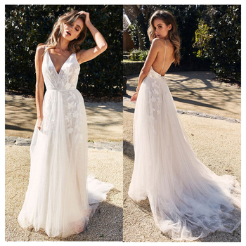 wedding dress spaghetti Straps backless Lacing Back Bride Dress elegant garden country Lace Appliques wedding gowns