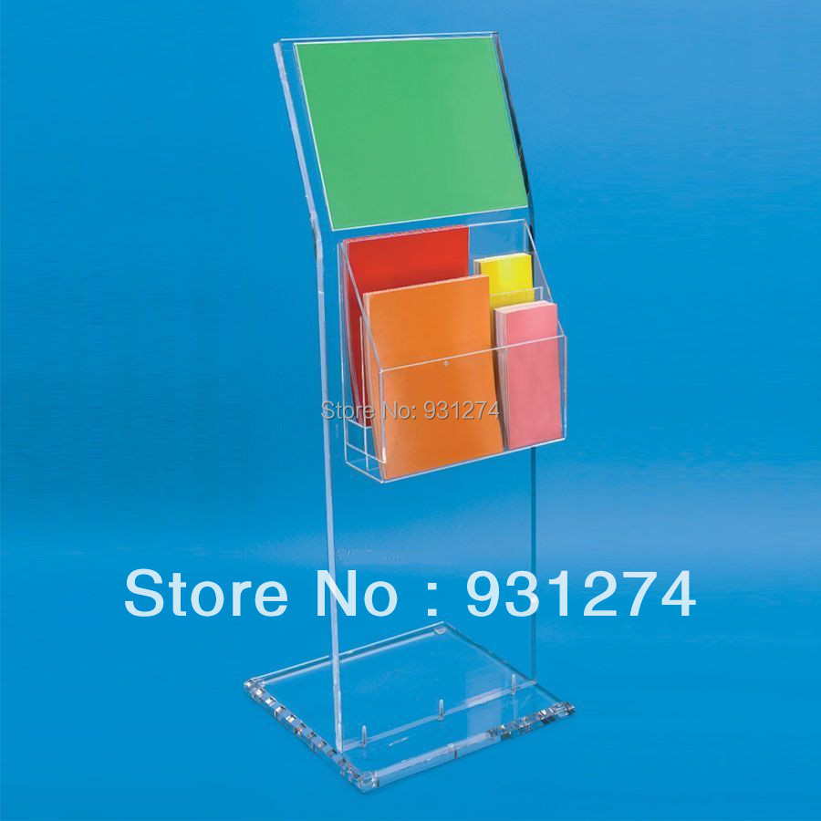 Floor Standing acrylic magazine holder for office lobby,Lucite Perspex Literature rack ...