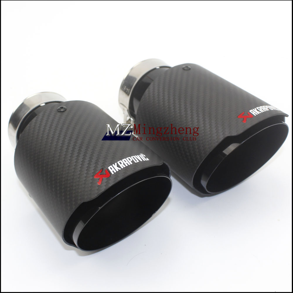 1Pcs car styling Carbon fiber + stainless steel universal Auto akrapovic exhaust tip tailtip end pipe for bmw vw golf