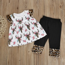 Summer Kids Girls Sets Baby Toddler Girl Flare Sleeve Floral Leopard Print T-shirt Blouse Tops Trousers Pants Outfits