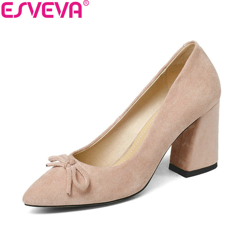 ESVEVA 2018 Women Pumps Sweet Style Spring and Autumn Square High Heels Flock Pointed Toe Butterfly-knot Ladies Shoes Size 34-43 egonery shoes 2017 spring and autumn concise wedges butterfly knot pumps simple lace up sweet round toe women fashion high heels