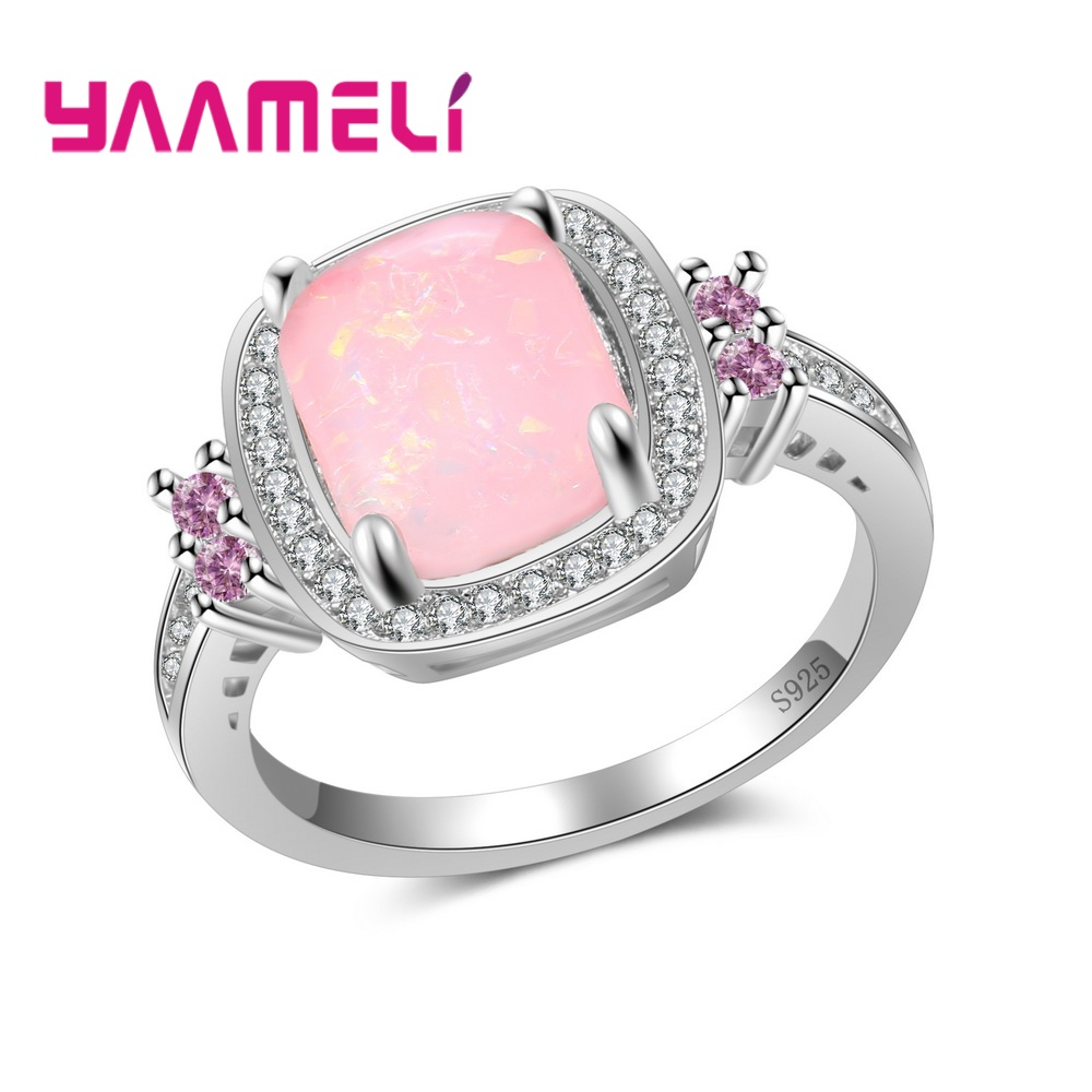 YAAMELI Pink Quadrilateral Opal Women Ladies Finger Rings Really 925 Sterling Silver Hard Cubic Zirconia Crystal Jewelry Gift