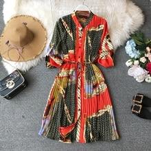 NiceMix Women 2019 New Spring V-NECK Long Sleeve Gemetric Print Pleated Shirt Dress