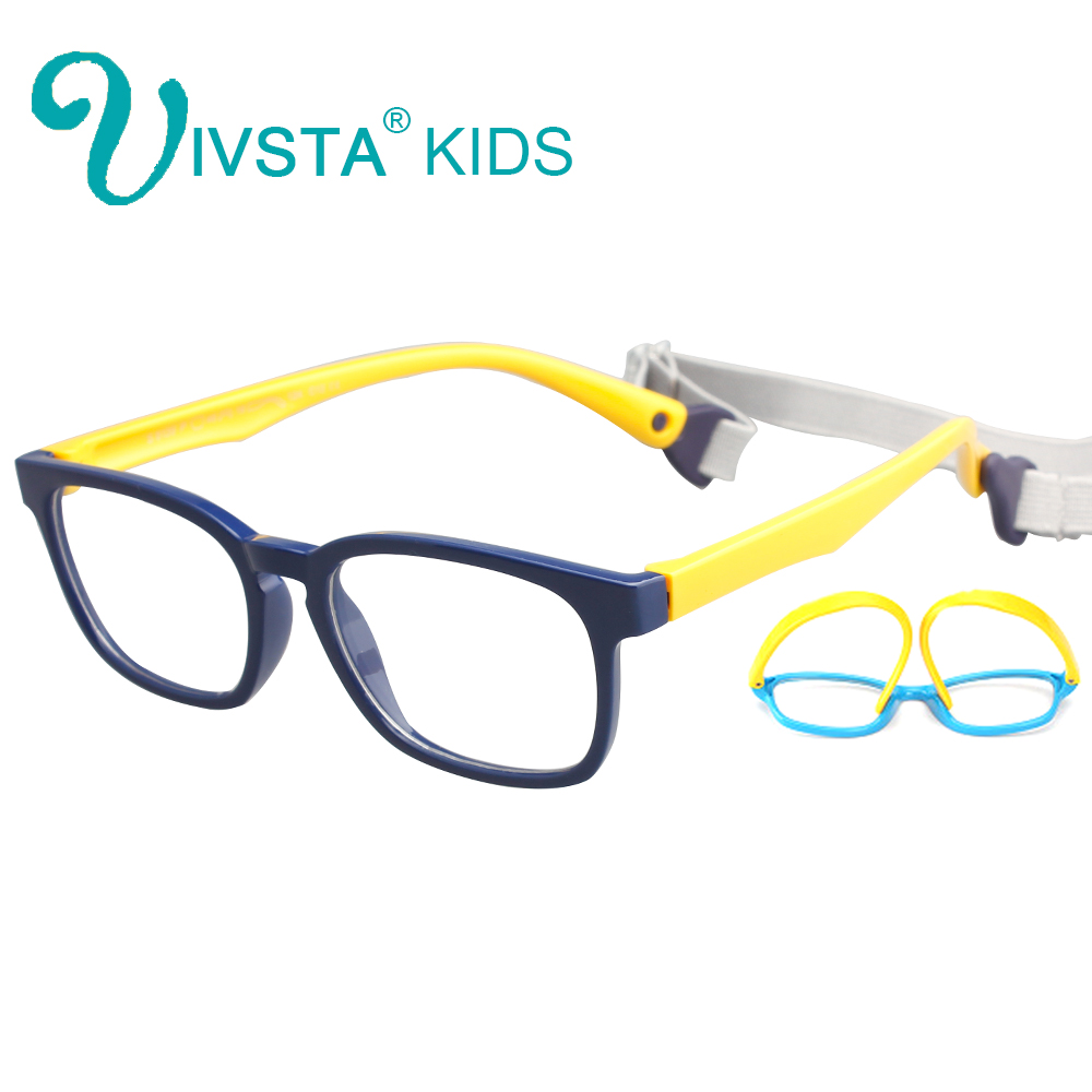IVSTA with Strap 46-16 Kids Glasses Computer anti blue light Rubber Flexible TR90 Silicone Girls Optical Frames Prescription