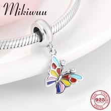 Nueva plata esterlina 925 colorido esmalte Flor Mariposa fina colgante de joyería fit Original de la pulsera del encanto de Pandora