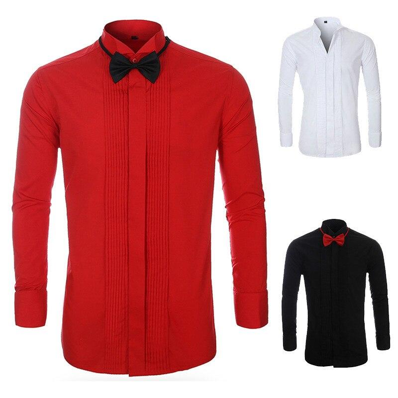 Primavera Camisa de Grandes Dimensões Vestido de Camisa Slim Fit Dos Homens de Manga Comprida Camisa Do Smoking Formal Vermelho Masculino Tamanho Grande 4xl 5xl Casuais vestido-camisa