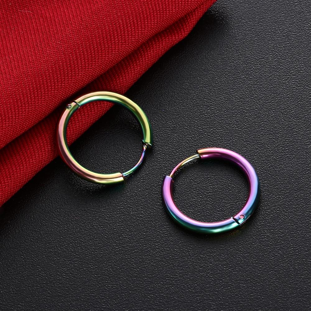 Mens Womens Stainless Steel Tube Hoop Ear Ring Stud Earrings Jewelry Punk 1 PAIR