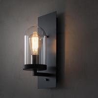 Estilo americano de Hierro de Época Loft Pasillo Edison Industrial Lámpara de Pared cubierta de Cristal HM37