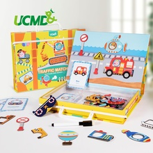 Magnetic Cartoon Puzzle 3D Traffic Matching Jigsaw Games Toy Early Learning Traffic Puzzles Educational Toys for Child Kids Gift цены онлайн