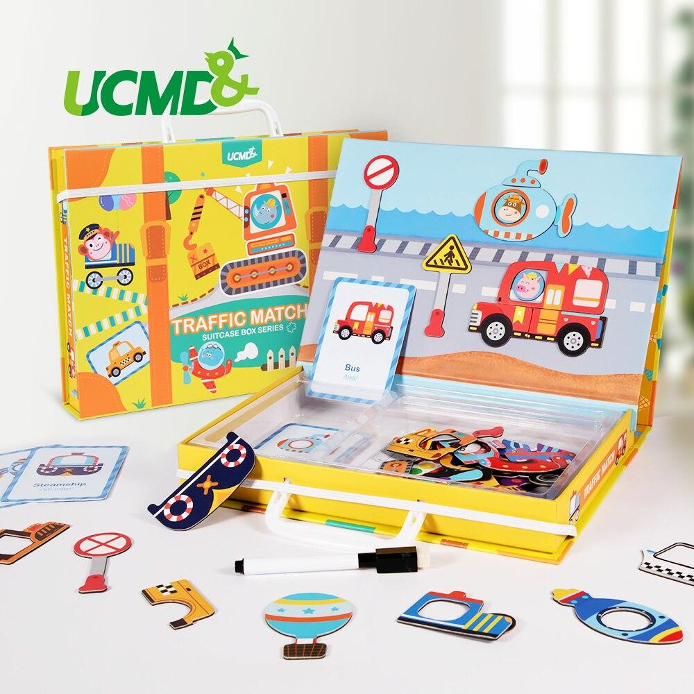 Magnetico Del Fumetto Di Puzzle 3D Traffico di Corrispondenza Puzzle Giochi Giocattolo Apprendimento Precoce Traffico Puzzle Giocattoli Educativi per il Bambino Scherza il Regalo-in Puzzle da Giocattoli e hobby su  Gruppo 1