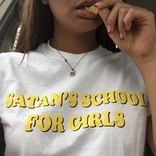 Satan School Letters Printed Tee For Girls Women 90s Aesthetic Tumblr Grunge T-Shirt